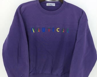 Vintage 90's Nautical Purple Classic Design Skate Sweat Shirt Sweater Varsity Jacket Size M #A791