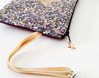 Betsy Ann clutch with strap and star, glitter Gold Star charm