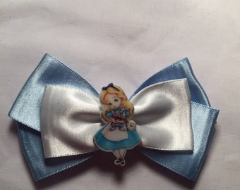 Satin disney alice in wonderland hair bow / headband / clip