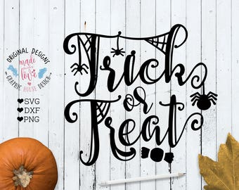 Halloween SVG, Trick or Treat svg, Halloween Cut file in SVG DXF png Cricut, Silhouette Cameo, Halloween Printable, Trick or Treat Printable