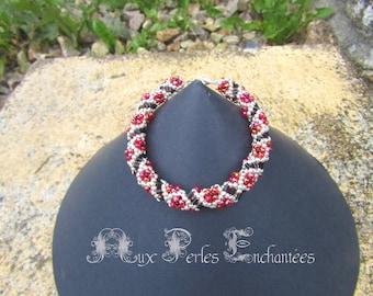 Beading pattern, beading tutorial, beading instructions, beading bracelet, Beaded little flowers spiral bracelet tutorial