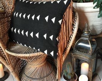 INJA - Genuine black and white bogolan mudcloth cushion with tan suede fringing tassels