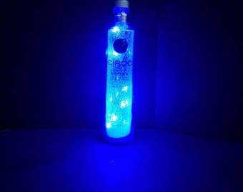 Blue Ciroc bottle light, ciroc decor, upcycled ciroc, ciroc vodka, snap frost ciroc bottle, liquor bottle, ciroc party, centerpiece,
