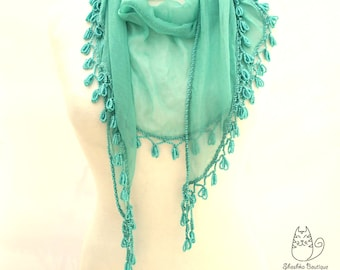 Crochet necklace scarf, Beaded, Fringed Crochet edge Bohemian Scarf , Turquoise scarf