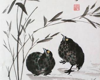 Birds under bamboo