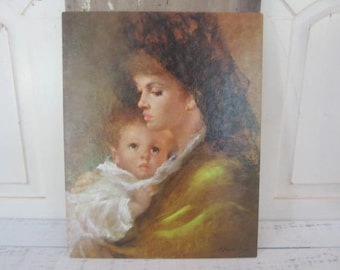 Vintage Lithograph Mothers Love By Gentilini Vintage Print Nursery Home Decor Mother & baby
