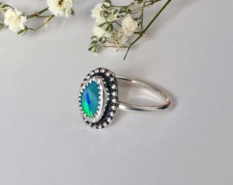 Australian Opal Stacking Ring // Opal Jewelry // Natural Gemstone Ring // October Birthstone // Handmade Ring