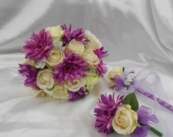 silk wedding flowers brides bouquet wedding bouquet ivory roses  purple gerbera white gypsoflia  bridal package