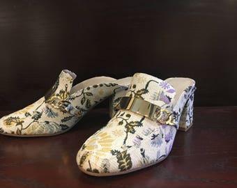 Vintage Floral Mules