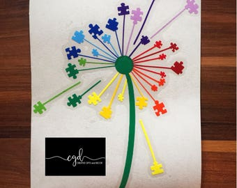 Autism puzzle piece dandelion car decal