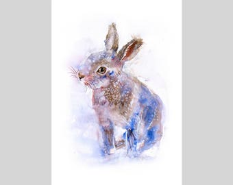 Fine Art Print of My Original Hare (Baby Leveret) Watercolour Painting Signed A3 A4 Giclee HighQuality Vibrant Impressionist Wildlife Animal