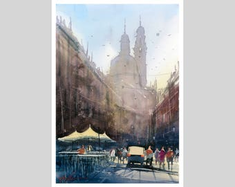 Fine Art Print of My Genoa Italy Watercolour Painting Signed City scape Italy Town Urban Giclee High Quality Vibrant Impressionist Landscape