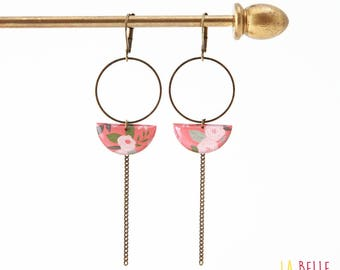 Earrings dangle half moon coral floral pattern
