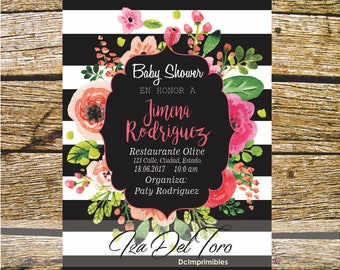 Baby Shower, Kate Spade, Floral, pink, stripes.
