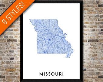 Waterways of Missouri map art | Printable Missouri map print, Missouri print, Missouri poster, Missouri art, Missouri wall art, MO map art
