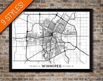 Every Road in Winnipeg map art | Printable Winnipeg map print, Winnipeg print, Winnipeg poster, Winnipeg art, Manitoba map, Canada wall art