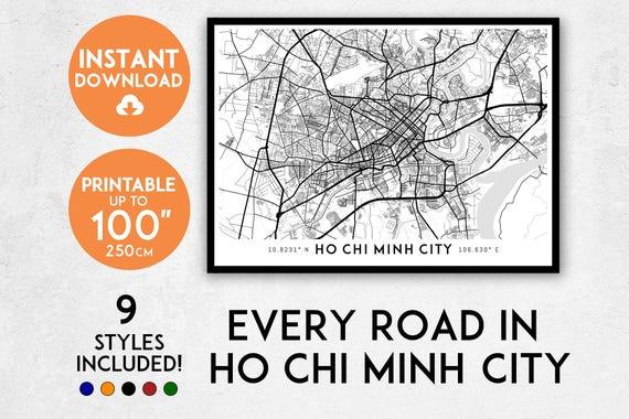 Ho Chi Minh City map print, Printable Ho Chi Minh map art, Ho Chi Minh print, Vietnam map, Ho Chi Minh City art, Ho Chi Minh City poster