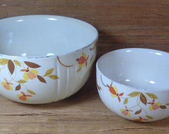 Set Of 2 Vintage 1950s Autumn Leaf Jewel Tea Nesting Bowls Superior Hall Mary Dunbar Dinnerware Collection, 1950s Mixing Bowls