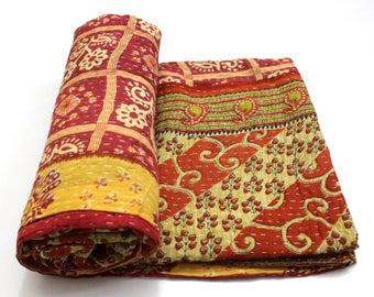 Indian Handmade Twin Size Reversible Floral Cotton Quilt Throw Embroidered Bohemian BedSpread Gypsy Blanket Ethnic Bedding Coverlet J527