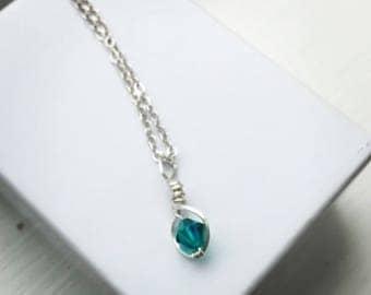 Birthstone Necklace - Silver Necklace -Swarovski crystal necklace - Crystal Drop Necklace - Crystal Pendant - Birhstone Jewelry - Gifts For