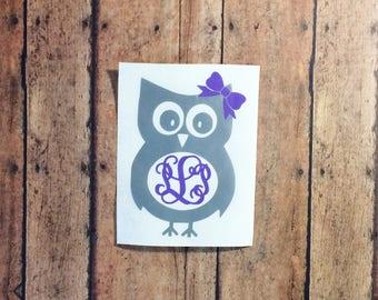 Owl monogram decal - owl monogram - owl lover - owl sticker - owl tumbler decal - owl car decal - personalized owl - initial monogram -