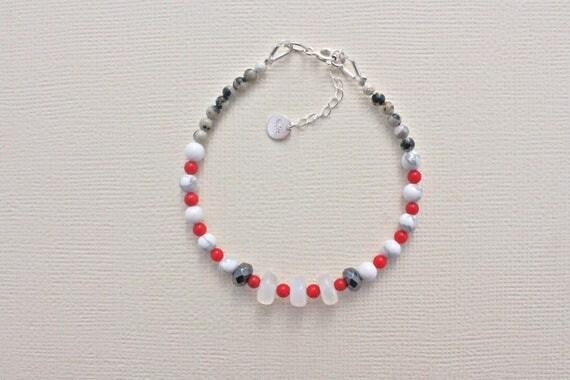 fine bracelet, semi-precious stones: rainbow moonstone, coral bamboo Jasper Dalmatian, howlite, hematite
