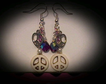Peace sign funky earrings.