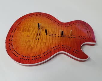 Cribbage Board - Electric Guitar Body Shaped - Cherry Sunburst