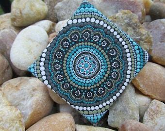 Seaside Tranquility Miniature Mandala Dot Art - Mandala, mehndi, boho, mindfulness, intuitive, spirituality, zen