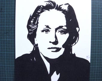 Meryl Streep, portrait original painting stencil feminist women