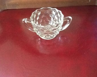Clear glass sugar bowl