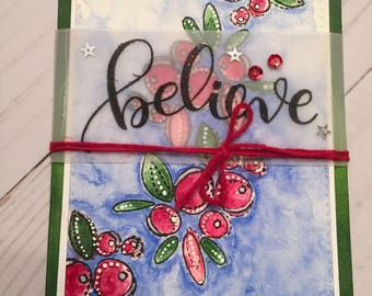 Believe-Christmas Card-Hand Stamped Card-Simon Says Stamp-Winter Berries