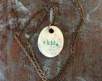 """Clay diffuser necklace """"abide"""""""