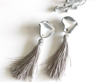 Marble Polymer Clay Earrings, Long Tassel Earrings, Statement Jewelry, Gray Fringe Earrings.