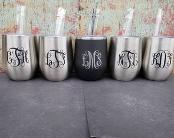 Wine tumbler with lid and straw,  wine tumbler, stainless steel tumbler, wine glass, bridesmaid tumbler, monogram wine tumbler, blanks,