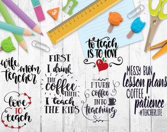 Teacher Vinyl Decal-Teacher Coffee-Wife Teacher-To Teach Is To Love Iron On-Teacher Life Mug-Education Back To School Tumbler