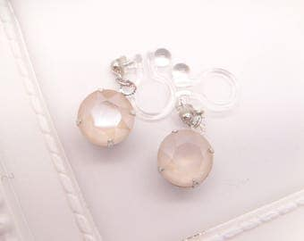 New color!Crystal Ivory Cream Dangle Invisible clip on earrings,Japanese Ω Resin Clip On Earrings,Clip Ons,Non pierced Earrings