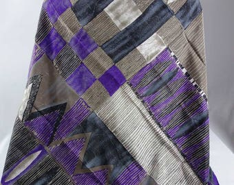 "Degas Made in Italy SILK Scarf Hand Rolled Hem 33"" Abstract Geometric Design"