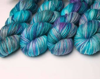 Hand dyed yarn 'Peacock Feather' 100g / hand dyed yarn / superwash/ indie dyer /DK yarn / sock yarn/ aran yarn / worsted / crochet / knittin