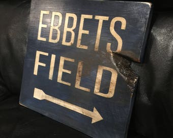 Ebbets Field | Baseball Sign | Brooklyn Dodgers | Distressed Wood Handmade | Boys Decor | Man Cave | Brooklyn New York