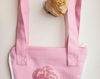 Pink cotton little bag for young girl with beaded rose
