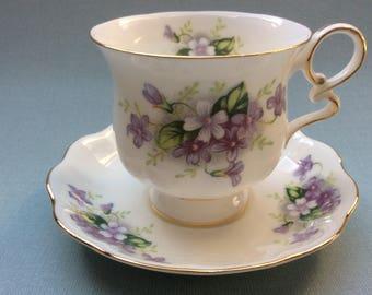 Vintage Royal Ascot tea cup and saucer, Charming Violets, floral tea cup, English tea cup and saucer, English porcelain