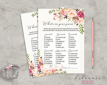 Floral What is in your Purse Bridal Shower Game Digital Download Bridal Trivia Pink Peonies Printable Bohemian Shower Quiz - BG014