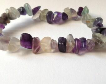 Fluorite chips green and purple bracelet