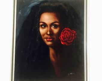 Vintage painting Black Velvet exotic woman oil painting