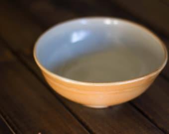 Celadontosaurus Bowl - wood fired cereal bowl, celadon glazed bowl, dessert bowl