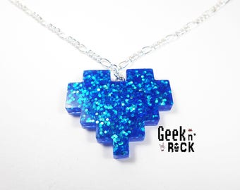 Geek necklace - Pixel heart glitter holographic vibrant gamer video game nerd