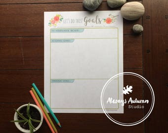 Printable Homeschool Goal Planner - Tufted Titmouse Bird and Watercolor Roses