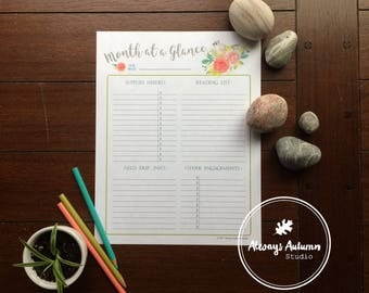 Printable Homeschool {Month at a Glance} Planner Sheet - Tufted Titmouse Bird and Watercolor Roses