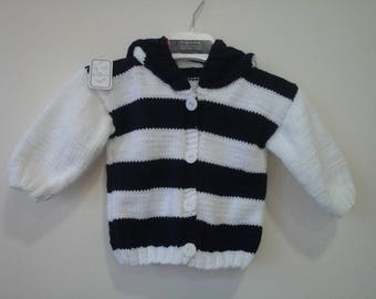 Striped sweater sleeves and hood 6 month white and Navy